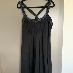 Black party dress with beaded straps